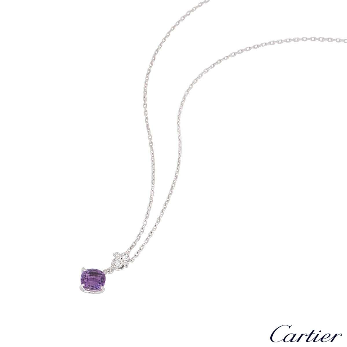 Cartier White Gold Amethyst Lotus Pendant B3041600